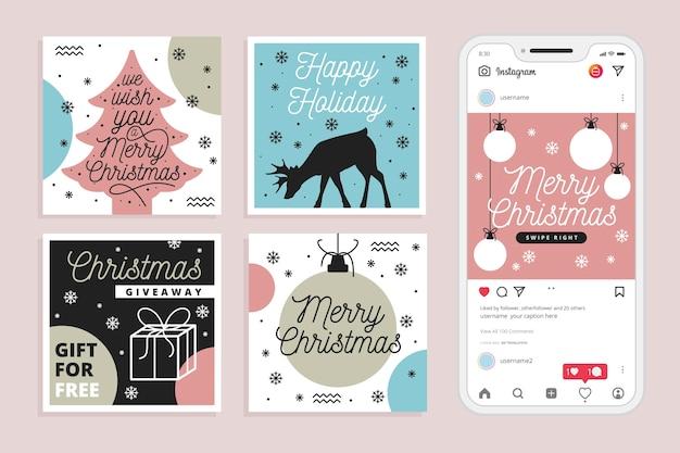Świąteczna wyprzedaż instagram kolekcja postów Darmowych Wektorów