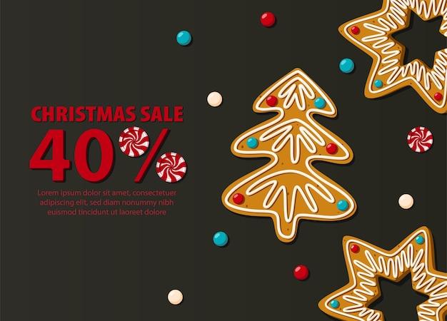 Świąteczna Wyprzedaż Poziomy Baner Na Czarnym Tle Z Pierniki. Premium Wektorów