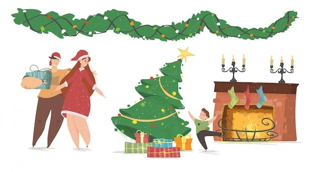 Świąteczne Dekoracje Z Rodziną Premium Wektorów