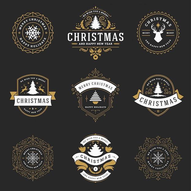 Świąteczne etykiety i odznaki Premium Wektorów