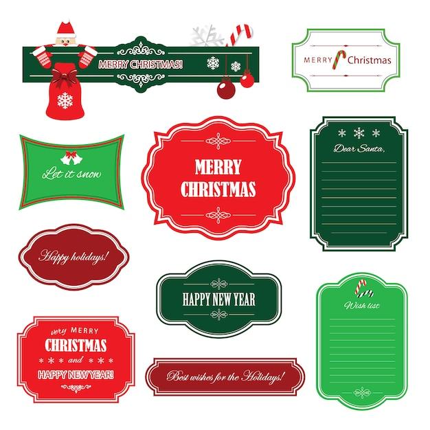 Świąteczne i szczęśliwego nowego roku ramki i banery. Premium Wektorów