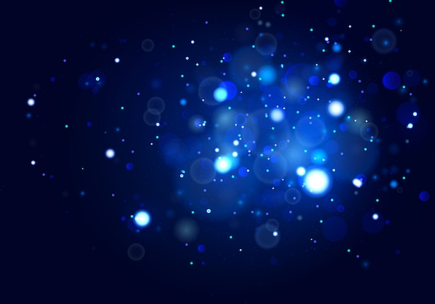 Świąteczne Niebieskie Tło Z Kolorowymi światłami. Premium Wektorów