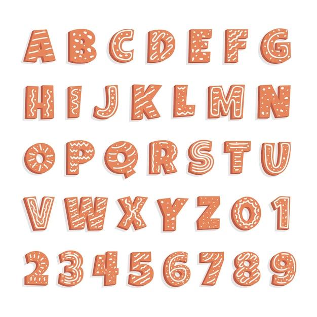 Świąteczne opakowanie alfabetu z piernika Darmowych Wektorów