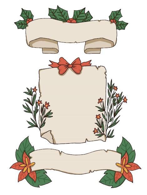 Świąteczne papiery i elementy dekoracyjne Premium Wektorów