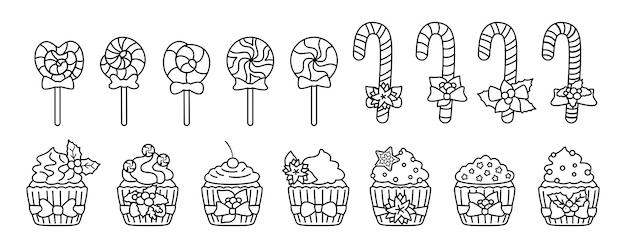 Świąteczne Słodycze, Cukierki, Zestaw Linii Babeczki. Słodycze Smaczne Wakacje Czarny Liniowy Płaski Kreskówka. Karmel Z Trzciny Lollipop, Ciasto Cukrowe. Jedzenie Noworoczne I świąteczne, Zdobione Ostrokrzewem. Ilustracja Na Białym Tle Premium Wektorów