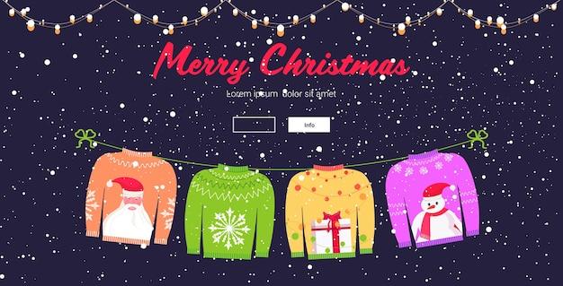 Świąteczne Swetry Tradycyjne Swetry Z Dzianiny Z Różnymi Nadrukami święty Mikołaj Płatek śniegu Pudełko Bałwan Wesołych świąt Szczęśliwego Nowego Roku święta Uroczystości Premium Wektorów
