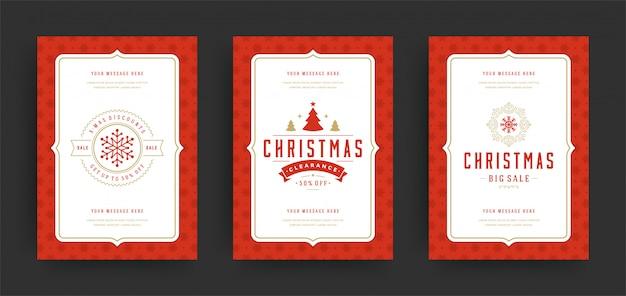 Świąteczne wyprzedaże ulotki lub banery zestaw ofert rabatów i płatki śniegu z ozdobną dekoracją Premium Wektorów