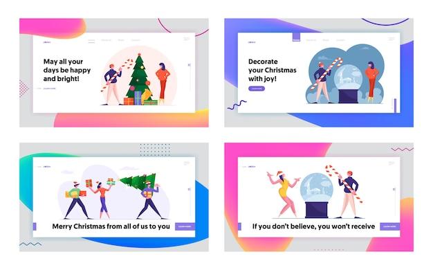 Świąteczne Zakupy I święty Mikołaj Z Prezentami Zestaw Strony Docelowej Witryny Sieci Web Premium Wektorów