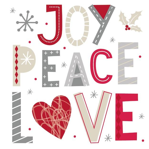 Świąteczne życzenia Z Typografią Radości, Pokoju I Miłości Premium Wektorów