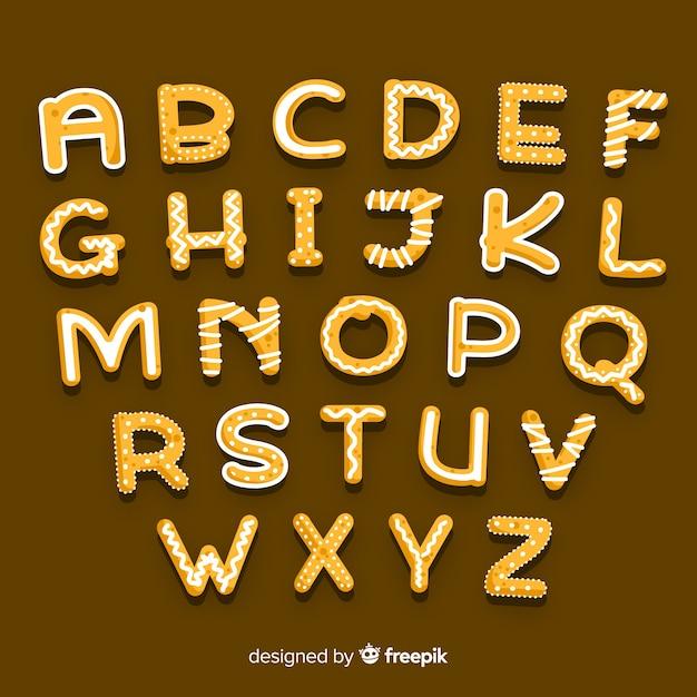 Świąteczny alfabet z piernika Darmowych Wektorów