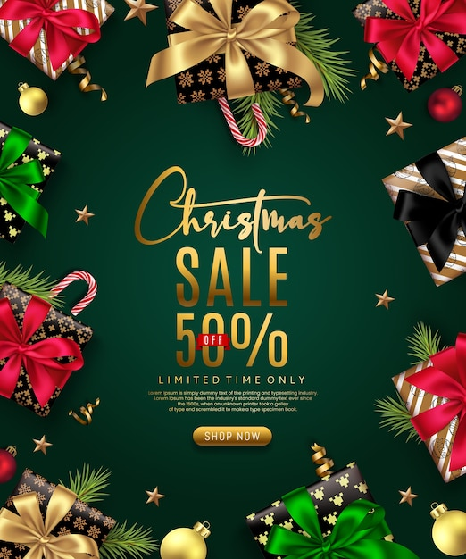 Świąteczny Baner Sprzedaży Premium Wektorów