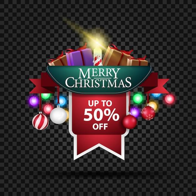 Świąteczny Baner Z 50% Zniżką I Prezentami Premium Wektorów