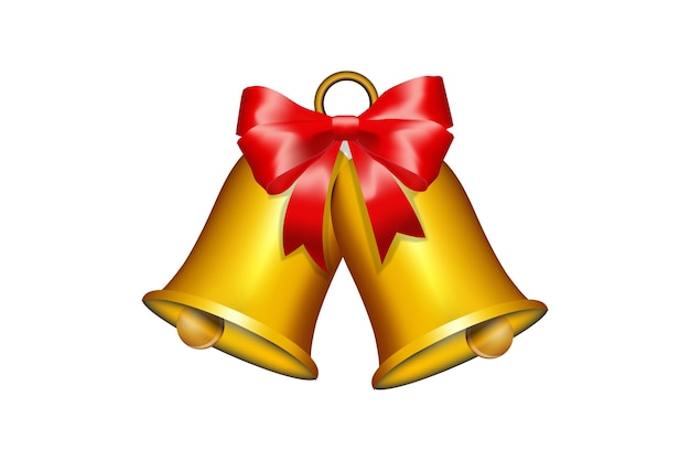 Świąteczny Dzwonek Z Czerwoną Wstążką Szablon Premium Wektorów
