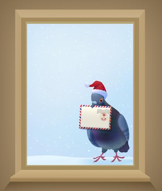 Świąteczny Gołąb Pocztowy Darmowych Wektorów