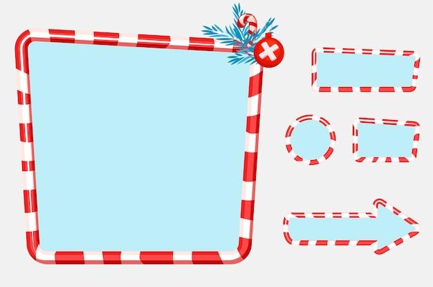 Świąteczny Interfejs Użytkownika I Elementy Do Projektowania Gier Lub Stron Internetowych Przyciski, Tablice I Ramki. Obiekty Na Osobnej Warstwie. Premium Wektorów