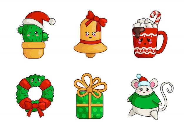 Świąteczny kaktus kawaii, złoty dzwonek, pudełko, gruba mysz, kubek gorącego napoju, wieniec, Premium Wektorów