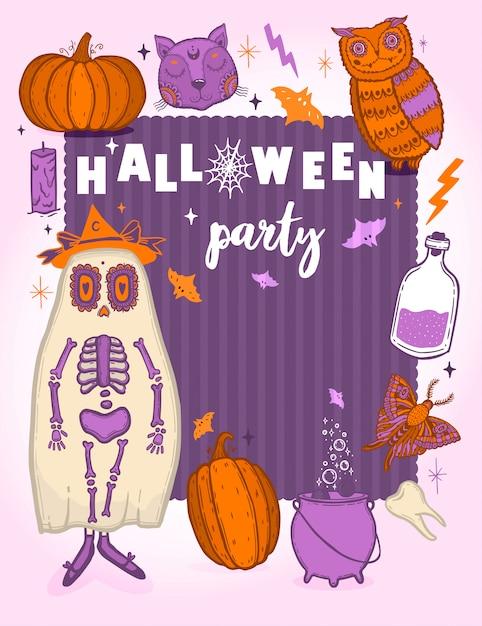 Świąteczny plakat na imprezę halloween. baner na wakacje. Premium Wektorów