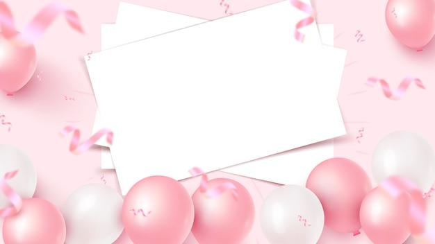 Świąteczny Projekt Transparentu Z Białymi Prześcieradłami, Różowymi I Białymi Balonami, Opadającymi Konfetti Z Folii Na Różowym Tle. Dzień Kobiet, Dzień Matki, Urodziny, Rocznica, Szablon ślubu. Ilustracja Premium Wektorów