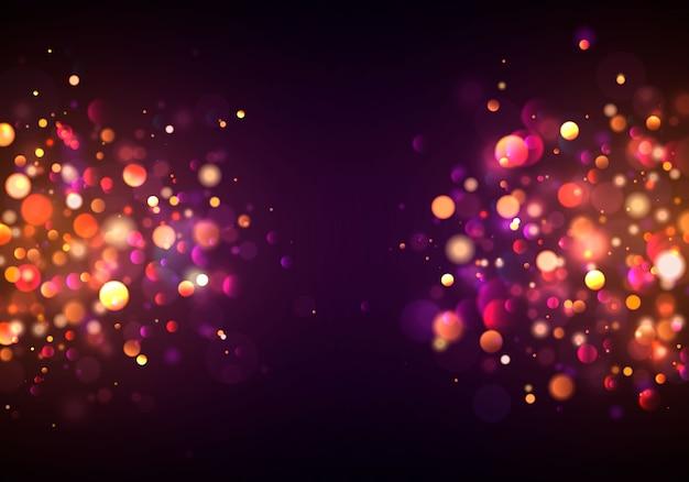 Świąteczny Purpurowy I Złoty świecący Tło Z Kolorowym światła Bokeh. Koncepcja Kartkę Z życzeniami. Magiczne Wakacje Plakat, Baner. Noc Jasne Złoto Błyszczy światło Streszczenie. Premium Wektorów