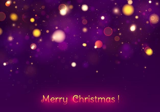 Świąteczny Purpurowy I Złoty świecący Tło Z Kolorowym światła Bokeh. Premium Wektorów