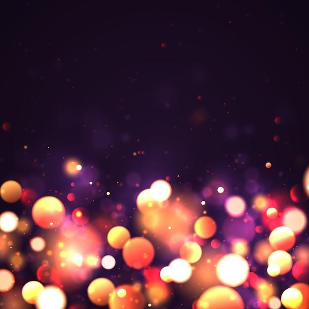 Świąteczny Purpurowy I Złoty świecący Tło Z Złotym Kolorowym światła Bokeh. Boże Narodzenie Koncepcja Xmas Kartkę Z życzeniami. Magiczne Wakacje Plakat, Baner. Noc Jasne Złoto Błyszczy światło Streszczenie Premium Wektorów