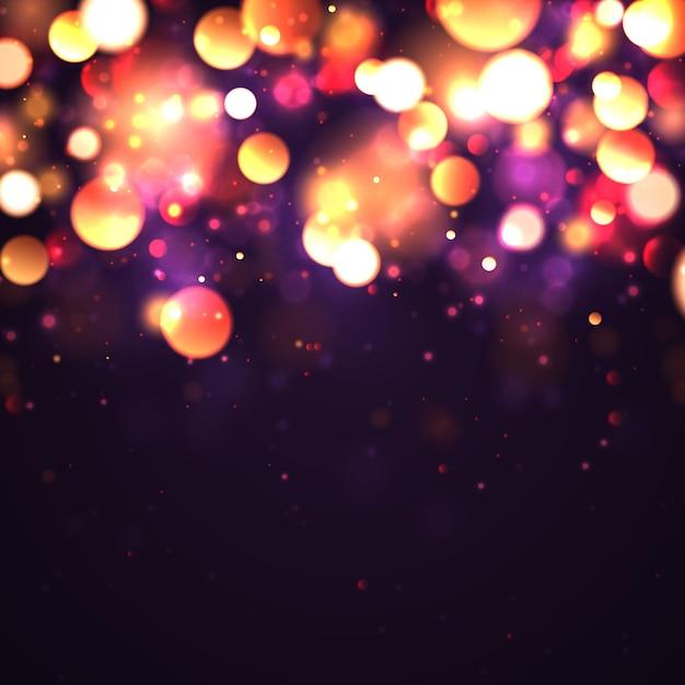 Świąteczny Purpurowy I Złoty świecący Tło Z Złotym Kolorowym światła Bokeh. Koncepcja Kartkę Z życzeniami. Magiczne Wakacje Plakat, Baner. Noc Jasne Złoto Błyszczy światło Streszczenie. Premium Wektorów