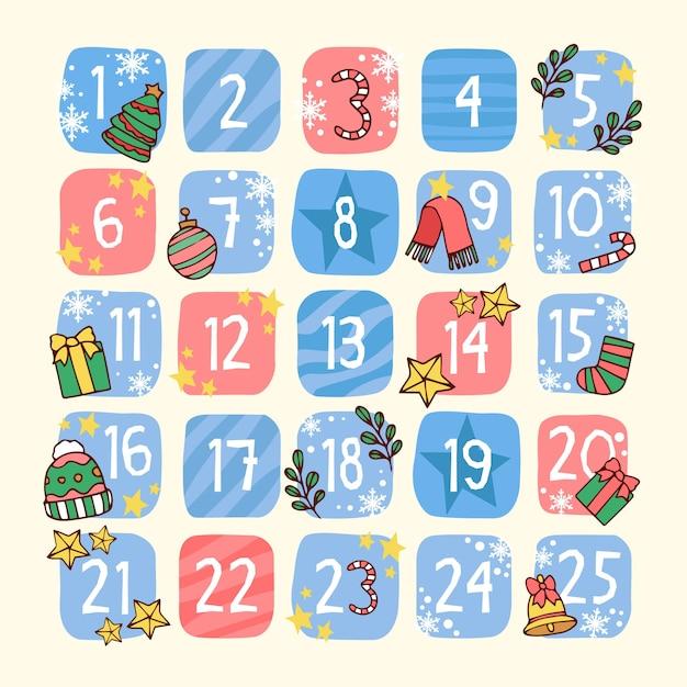 Świąteczny ręcznie rysowane kalendarz adwentowy Darmowych Wektorów