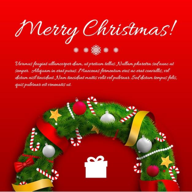Świąteczny Szablon Powitania Z Zielonym Wieńcem Tekstowym Wstążkami łuki Kulki Cukierki Prezent Na Czerwono Darmowych Wektorów