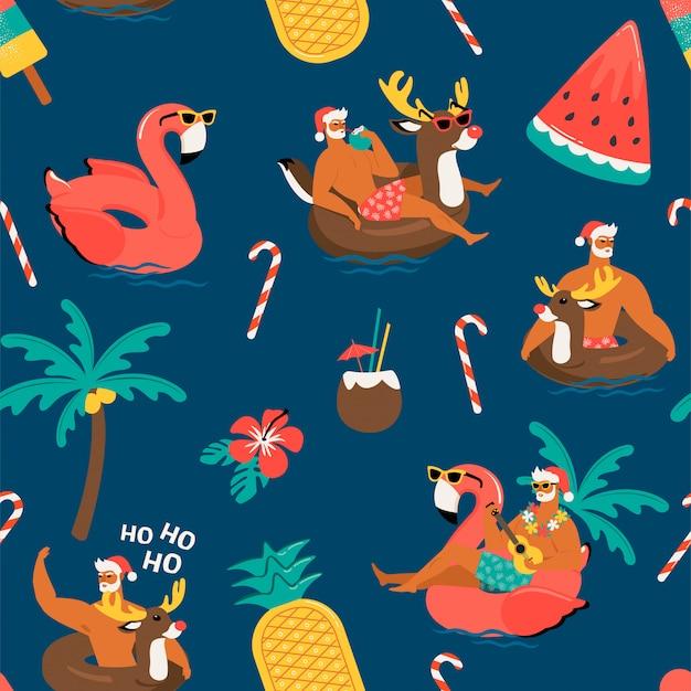 Świąteczny Wzór Z ładny Zabawny święty Mikołaj Z Nadmuchiwanym Pierścieniem Renifera I Flaminga .. Premium Wektorów