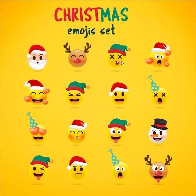 Świąteczny zestaw emoji. wakacyjny zestaw ikon twarz boże narodzenie z różnych emocji. styl 3d. Premium Wektorów