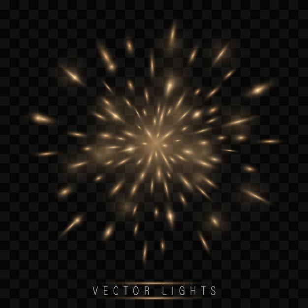 Świąteczny złoty fajerwerk salute burst Premium Wektorów
