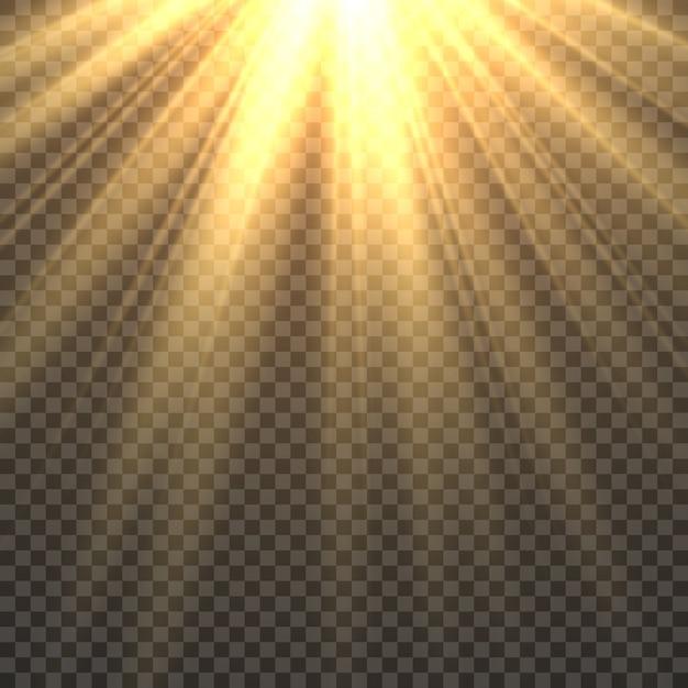 Światło Słoneczne Na Białym Tle. Efekt świetlny Złoty Blask Promieni Słonecznych. żółte Jaskrawe Promienie Słońca światła Słonecznego Ognista Ilustracja Premium Wektorów