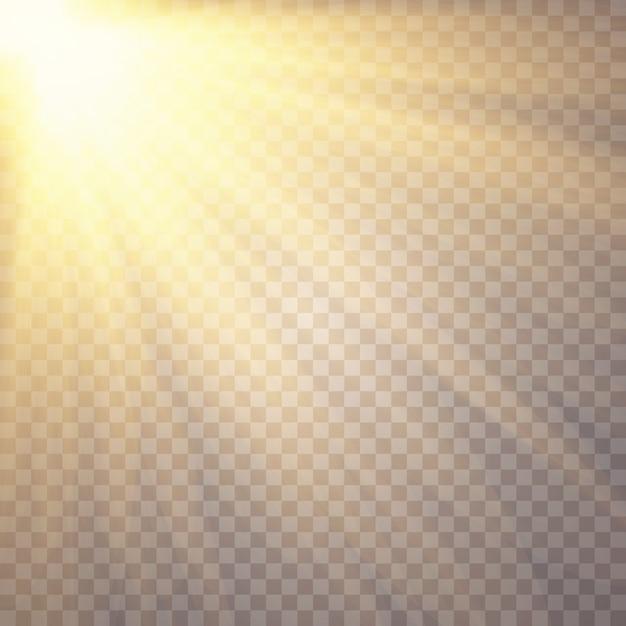 Światło słoneczne na przezroczystym. efekty świetlne. Premium Wektorów