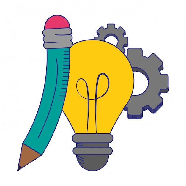 Światło żarówki i ołówek z symbolami narzędzi niebieskie linie Premium Wektorów