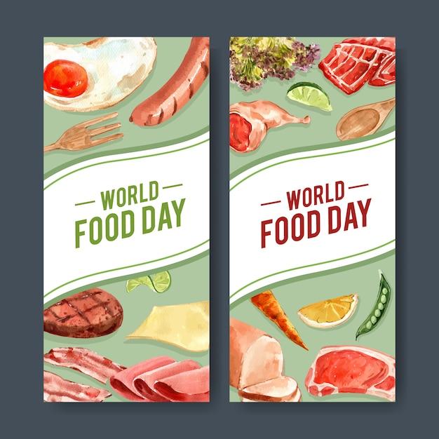 Światowa dzień żywności ulotka z kiełbasą, smażone jajka, marchew, stek wołowy akwarela ilustracja. Darmowych Wektorów