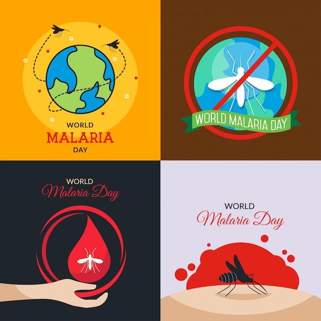 Światowa Ilustracja Dnia Malarii Premium Wektorów