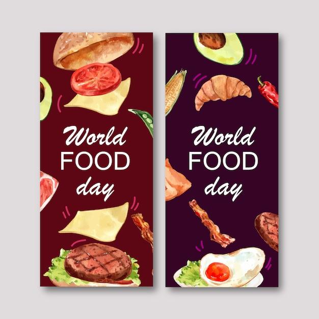 Światowa karmowa dzień ulotka z hamburgerem, smażąca jajeczna akwareli ilustracja. Darmowych Wektorów