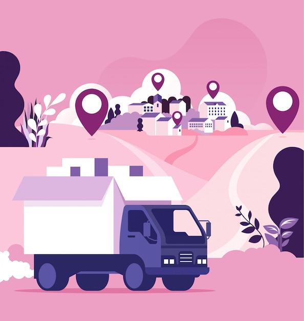 Światowa koncepcja dostawy i wysyłki Premium Wektorów