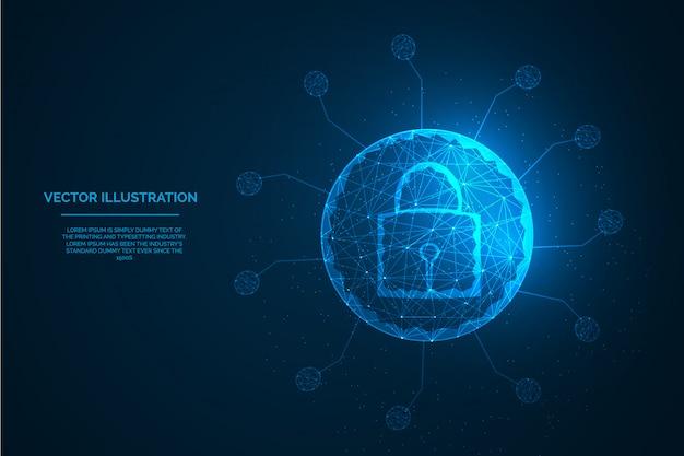 Światowa Ochrona Dla Wirusa Koronowego Pojęcia Cyfrowej Jakości Niskiej Poli- Ilustraci. Premium Wektorów