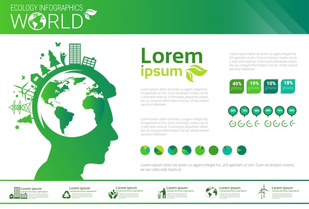 Światowa Ochrona środowiska Zielona Energia Ekologia Infografika Sztandar Z Kopii Przestrzenią Premium Wektorów