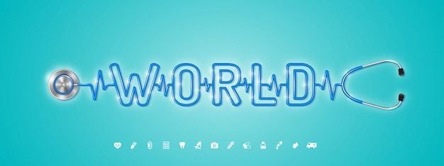 Światowa opieka zdrowotna i medyczne stetoskop i płaskie ikony Premium Wektorów
