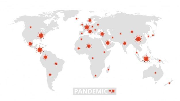 Światowa Pandemia. Epidemia Wirusów Na Mapie świata. Baner Informacyjny Z Koronawirusem Premium Wektorów