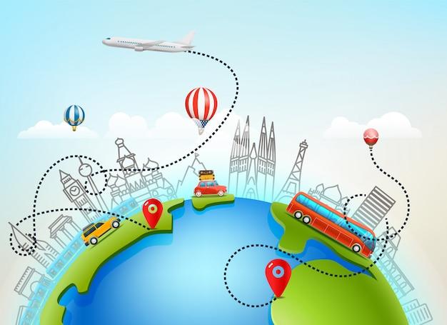 Światowa Podróż Wektorowa Kolor Ilustracja Premium Wektorów