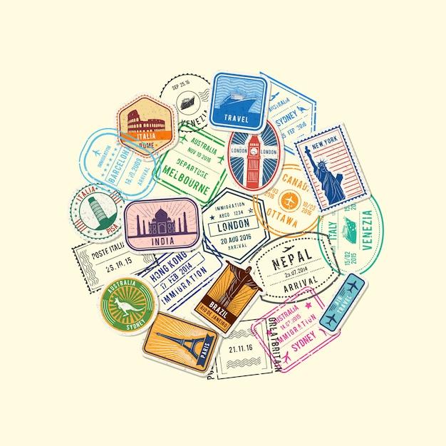 Światowe Imigracje I Znaczki Pocztowe Zebrane W Kręgu Premium Wektorów