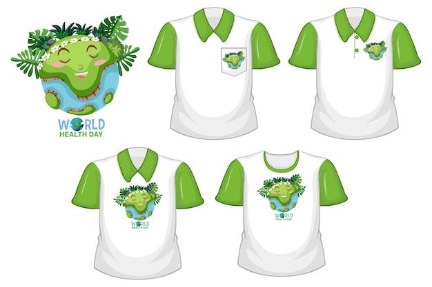 Światowe Logo Dnia Zdrowia I Zestaw Różnych Białych Koszul Z Zielonymi Krótkimi Rękawami Na Białym Tle Darmowych Wektorów