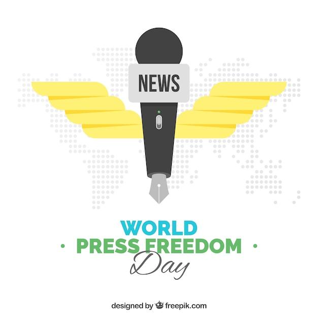 Światowe Wolność Prasy Dzień Tle Z Piórem W Kształcie Mikrofonu Darmowych Wektorów