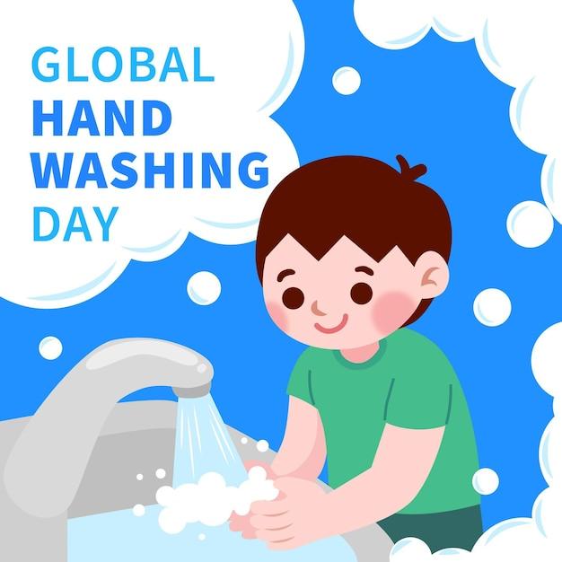 Światowe Wydarzenie Dnia Mycia Rąk Darmowych Wektorów