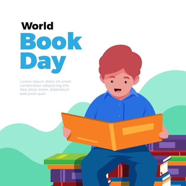 Światowego Dnia Książkowa Ilustracja Z Chłopiec Czytaniem Darmowych Wektorów