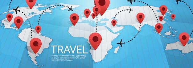 Światowej Mapy Ziemia Z Szpilki Podróży Pojęcia Wektoru Ilustracją Premium Wektorów