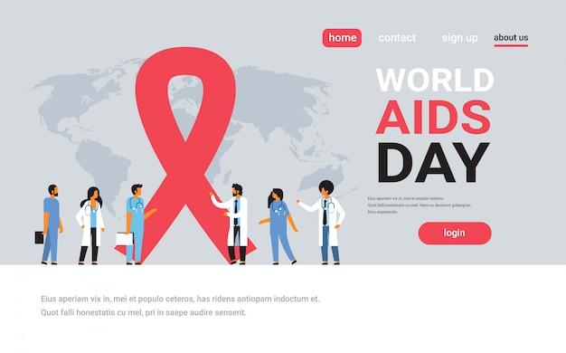 Światowy dzień aids świadomości czerwoną wstążką znak zespół lekarze grupa komunikacji globalne forum medyczne koncepcja zapobiegania Premium Wektorów